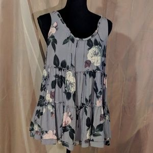 Entro Swing Tank Top Ruffle Floral Size Large